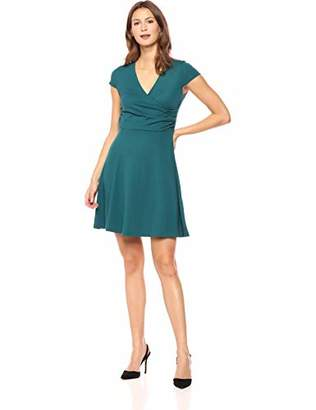 Lark & Ro Amazon Brand Women's Cap Sleeve Faux Wrap Fit and Flare Dress