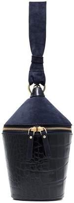 Staud navy blue minnow crocodile-effect sude leather bucket bag