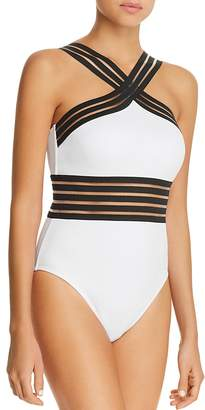 Kenneth Cole High Neck One Piece Swimsuit