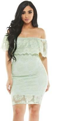 MESMER Halter Neck Lace Off-Shoulder Bodycon Minidress, M