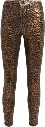 L'Agence Margot Cheetah Coated Jeans