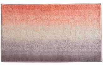 InterDesign Microfiber Ombre Bathroom Shower Accent Rug, Coral, Ivory and Gray -Multi Color