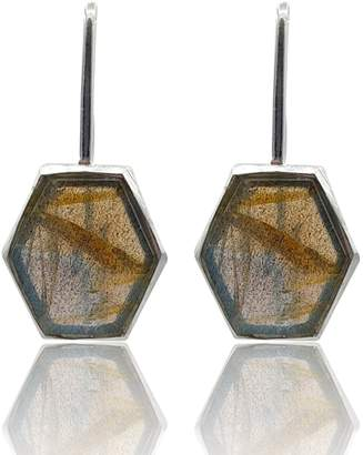 Eliza J Bautista - Hexagon Labradorite Dangling Earrings In Sterling Silver