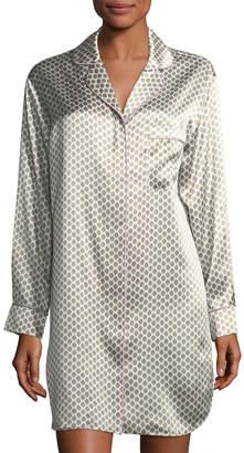 Olivia Von Halle Poppy Six Long-Sleeve Silk Sleepshirt