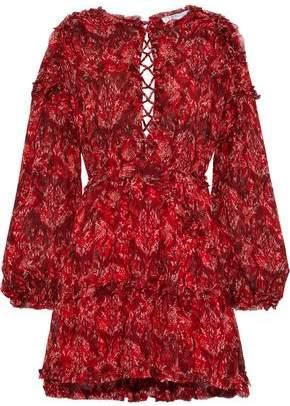 IRO Darling Open-back Printed Crepe De Chine Mini Dress