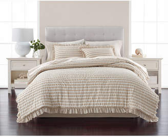 Martha Stewart Collection Seersucker Stripe Oat 8-Pc. California King Comforter Set
