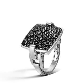 John Hardy Classic Chain Silver Pave Black Sapphire Ring, Size 6