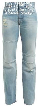 MM6 MAISON MARGIELA Slogan Print High Rise Jeans - Womens - Denim