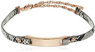 Kenneth Cole New York Rose Gold Bar Leather Choker Necklace