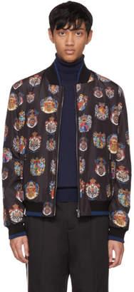 Dolce & Gabbana Black Crest Bomber Jacket