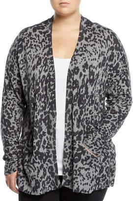 Neiman Marcus Leopard Print Cardigan, Plus Size