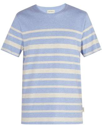 Oliver Spencer Striped Cotton Jersey T Shirt - Mens - Blue Multi