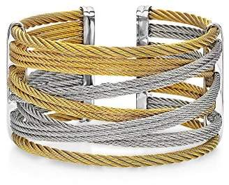 Alor Women's Yellow & Grey Multi Stranded Cable Cuff-Style Bangle Large