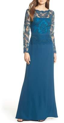 Tadashi Shoji Lace & Crepe Long Sleeve Evening Gown