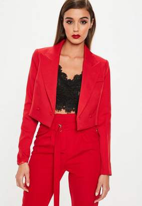 Missguided Red Super Cropped Jacket