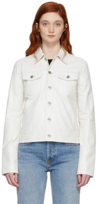 Helmut Lang White Denim Detailed Leather Jacket