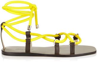 Jimmy Choo AZIZA FLAT Fluorescent Yellow Espadrille Style Strappy Flat Sandal
