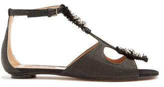 Samuele Failli - Liya Stud Embellished Raffia Sandals - Womens - Black