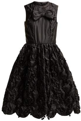 Comme des Garcons Bow Trim Ruffled Satin Dress - Womens - Black
