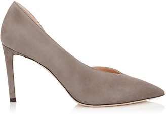 Jimmy Choo SOPHIA 85 Dark Grey Suede Pointy Toe Pumps