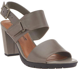 Clarks Leather Block Heel Adjustable Sandals -Kurtley Shine