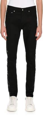 Alexander McQueen Coated-Stripe Skinny Jeans, Black