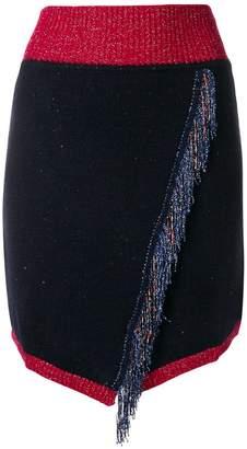 Pinko (ピンコ) - Pinko fringed knitted wrap front skirt