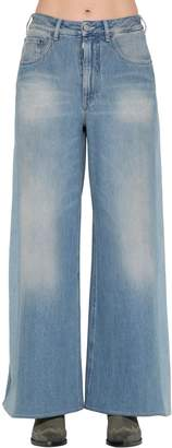 MM6 MAISON MARGIELA Wide Leg Faded Cotton Denim Jeans