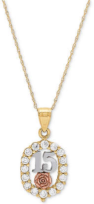 "Macy's Cubic Zirconia Quinceañera Rose 16"" Pendant Necklace in 14k Gold, Rose Gold & Rhodium-Plate"