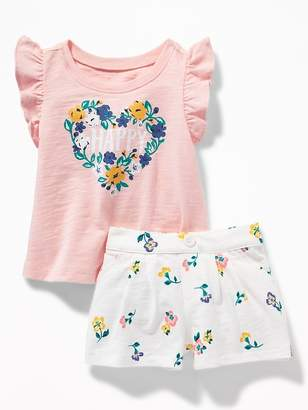Old Navy Slub-Knit Graphic Tee & Printed Shorts Set for Baby