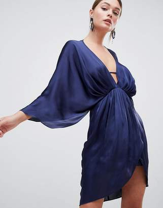 Asos DESIGN mini plunge satin kimono dress