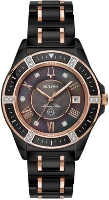 Bulova Women's Black Ceramic Marine Star Diamond Watch