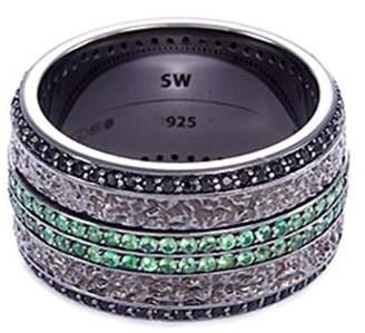 Stephen Webster 'England Made Me' tsavorite sapphire rhodium silver ring
