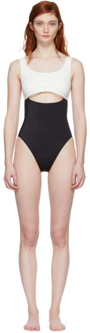 Solid and Striped Black and Ivory The Natasha Swimsuit