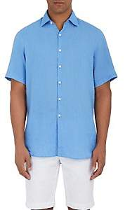 Piattelli MEN'S LINEN BUTTON-FRONT SHIRT-LT. BLUE SIZE XL