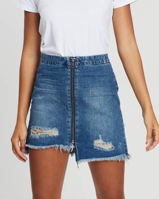 One Teaspoon Vixen High-Waist A-Line Denim Skirt