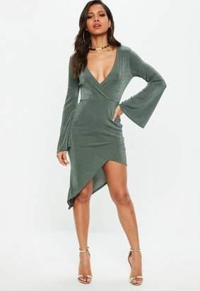 Missguided Green Flared Sleeve Slinky Wrap Dress
