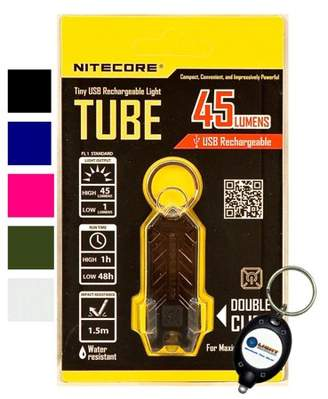 NEW NITECORE TUBE Tiny USB Rechargeable LED Light 45 Lumens 5 COLORS AVAILABLE - BLACK, GREEN/OLIVE, PINK, BLUE, CLEAR/TRANSPARENT w/ Lightjunction Keychain light (Black)