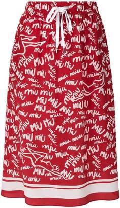 Miu Miu logo graffiti print skirt
