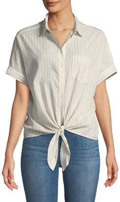 Dex Striped Tie-Front Button-Front Shirt