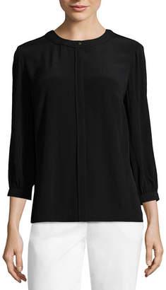 Liz Claiborne Piped Georgette Button-Front Blouse