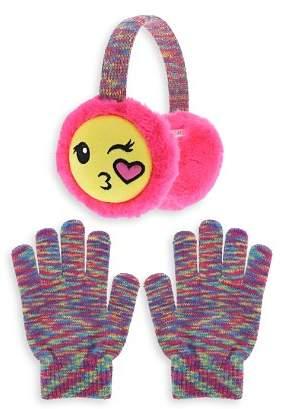 Capelli Girls' Kissy Face Emoji Earmuffs & Gloves Set - Little Kid, Big Kid