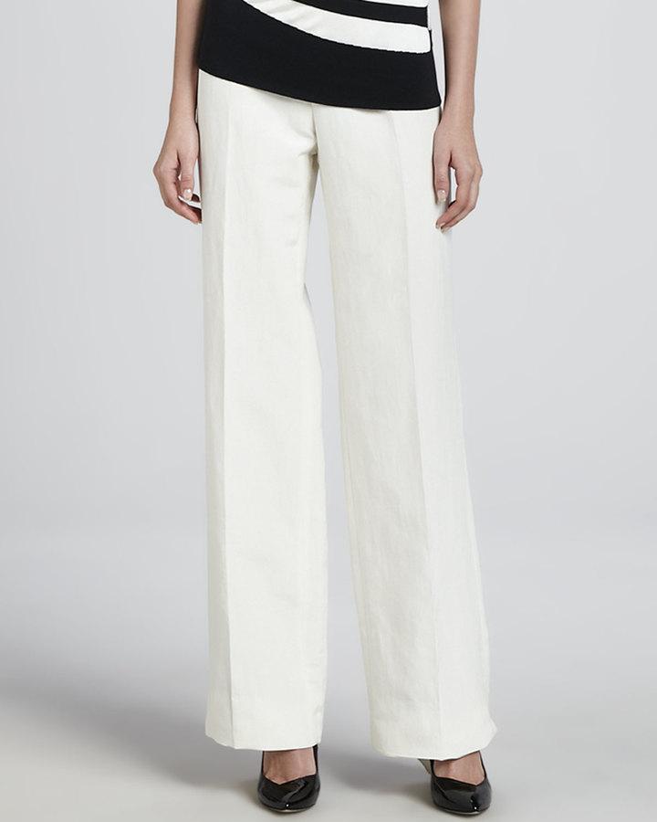 Armani Collezioni Linen-Blend Wide-Leg Pants, Off White