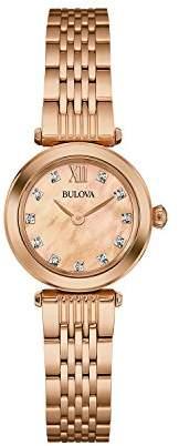 Bulova Ladies Women's Designer Diamond Watch Bracelet - Rose Gold Wrist Watch 97S116