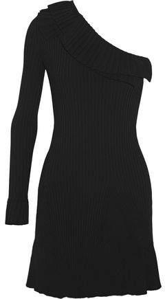 Emilio Pucci One-Shoulder Ruffled Ribbed-Knit Mini Dress