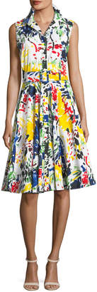 Samantha Sung Gigi Sleeveless Abstract-Print Shirtdress