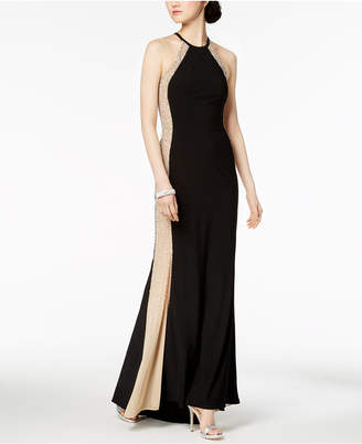 Xscape Evenings Mesh-Side Halter Gown
