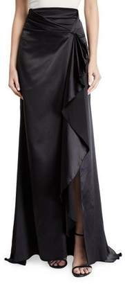 Alexis Brill Long Draped-Front Satin Skirt
