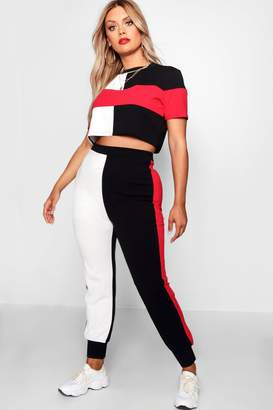 boohoo Plus Sports Stripe Co-ord Set