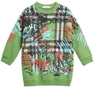 Burberry graffiti scribble print sweatshirt dress